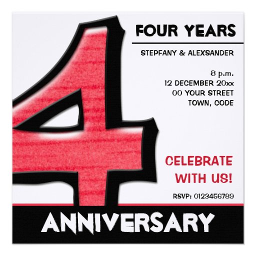 Silly Number 4 red Anniversary Invitation