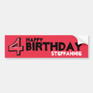 Silly Number 4 red Birthday Bumper Sticker