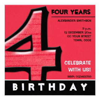 Silly Number 4 red Birthday Party Invitation