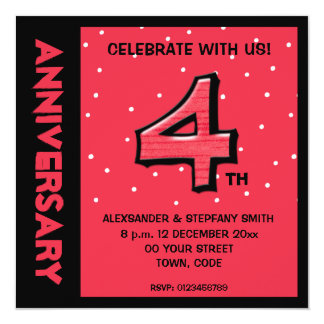 Silly Number 4 red dots Anniversary Invite
