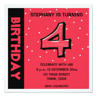 Silly Number 4 red dots Birthday Invitation