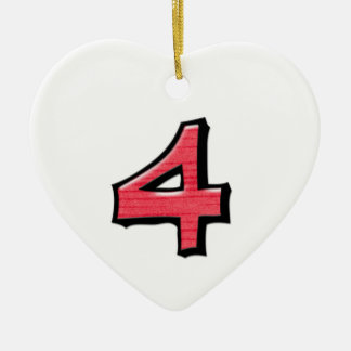 Silly Number 4 red Heart Ornament