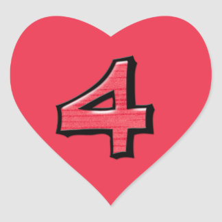 Silly Number 4 red Heart Sticker