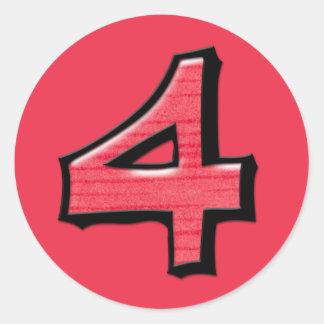 Silly Number 4 red Round Sticker