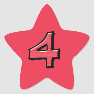 Silly Number 4 red Star Sticker