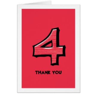 Silly Number 4 red Thank You Note Card
