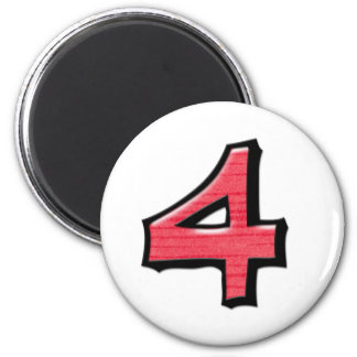 Silly Number 4 red white Round Magnet
