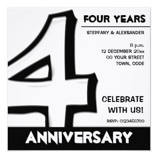 Silly Number 4 white Anniversary Invitation