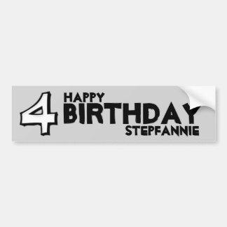 Silly Number 4 white Birthday Bumper Sticker