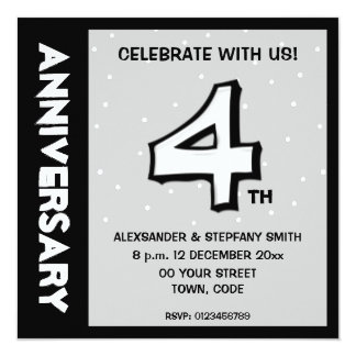 Silly Number 4 white dots Anniversary Invitation