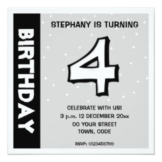 Silly Number 4 white dots Birthday Invitation