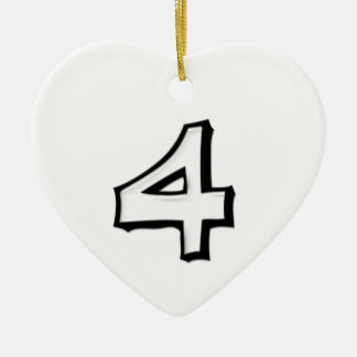 Silly Number 4 white Heart Ornament