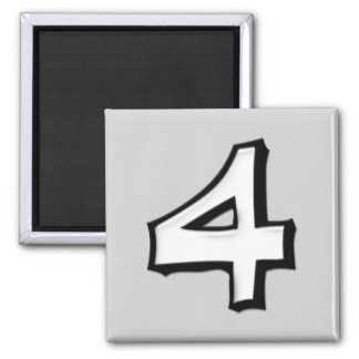 Silly Number 4 white Square Magnet
