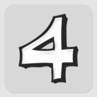 Silly Number 4 white Square Sticker