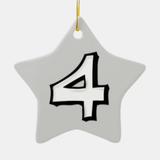 Silly Number 4 white Star Ornament