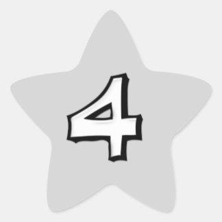 Silly Number 4 white Star Sticker