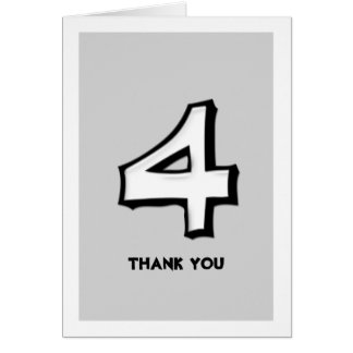 Silly Number 4 white Thank You Note Card