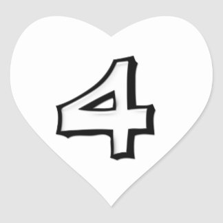Silly Number 4 white white Heart Sticker