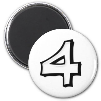 Silly Number 4 white white Round Magnet