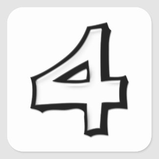Silly Number 4 white white Square Sticker