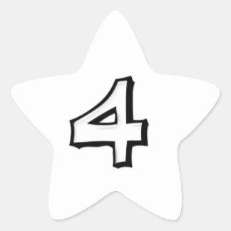 Silly Number 4 white white Star Sticker