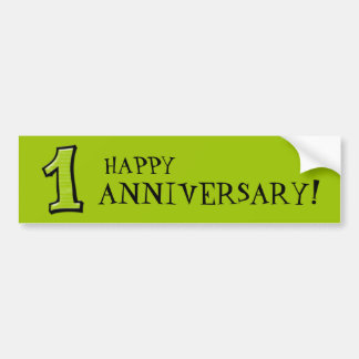 Silly Numbers 1 green Anniversary Stickers Bumper Sticker