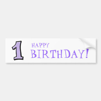 Silly Numbers 1 lavender Birthday Bumper Sticker
