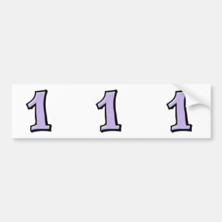 Silly Numbers 1 lavender cutout Stickers Bumper Sticker