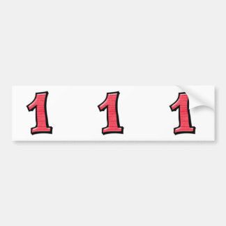 Silly Numbers 1 red cutout Stickers Bumper Sticker