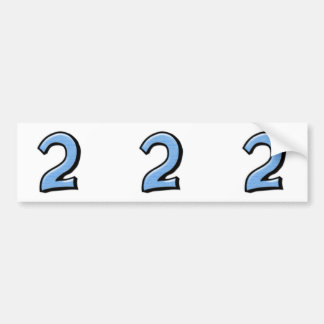 Silly Numbers 2 blue cutout Stickers Bumper Sticker