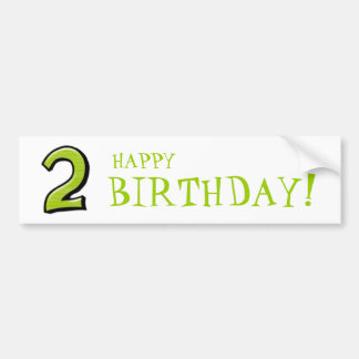 Silly Numbers 2 green Birthday Stickers Car Bumper Sticker