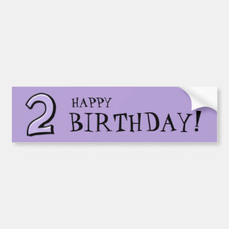 Silly Numbers 2 lavender Birthday Bumper Sticker