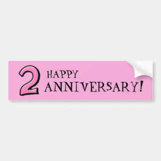 Silly Numbers 2 pink Anniversary Stickers Bumper Sticker