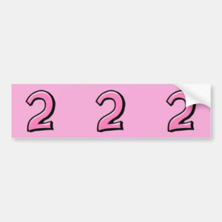 Silly Numbers 2 pink cutout Stickers Bumper Sticker
