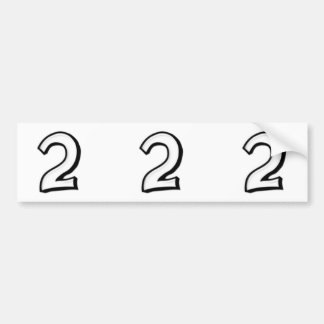 Silly Numbers 2 white cutout Stickers Bumper Sticker