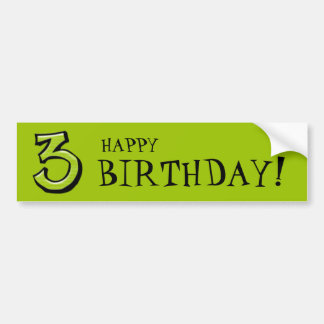 Silly Numbers 3 green Birthday Bumper Sticker
