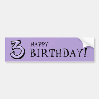 Silly Numbers 3 lavender Birthday Bumper Sticker