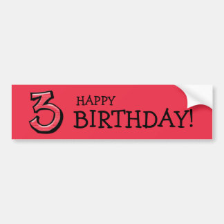 Silly Numbers 3 red Birthday Bumper Sticker