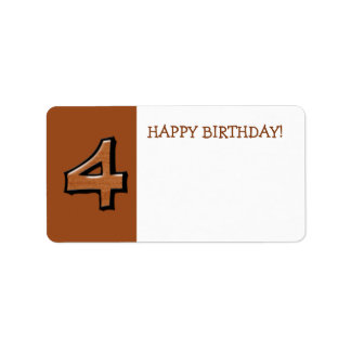 Silly Numbers 4 chocolate Birthday Gift Sticker Address Label