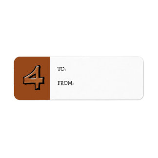 Silly Numbers 4 chocolate small Gift Tag Return Address Label