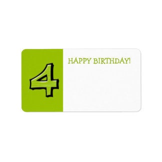 Silly Numbers 4 green Birthday Gift Sticker Address Label