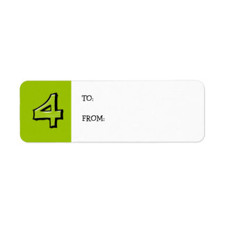 Silly Numbers 4 green small Gift Tag Return Address Label