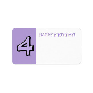 Silly Numbers 4 lavender Birthday Gift Sticker Address Label