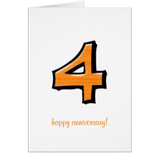 Silly Numbers 4 orange Anniversary Card