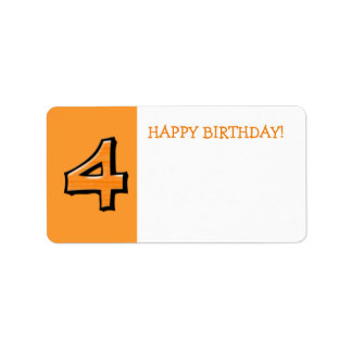 Silly Numbers 4 orange Birthday Gift Sticker Address Label