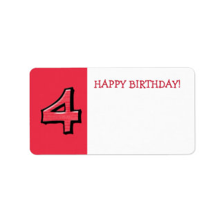 Silly Numbers 4 red Birthday Gift Sticker Address Label