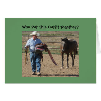 Silly Old Cowboy and Horse Birthday Greeting Card