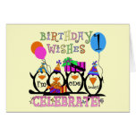 Silly Penguins 1st Birthday Tshirts and Gifts Greeting Card