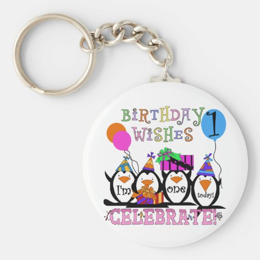 Silly Penguins 1st Birthday Tshirts and Gifts Key Chain
