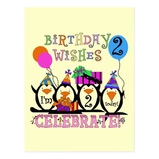 Silly Penguins 2nd Birthday T-shirts and Gifts Postcard